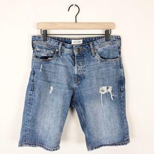 Jack & Jones Regular Fit Distressed Denim Shorts